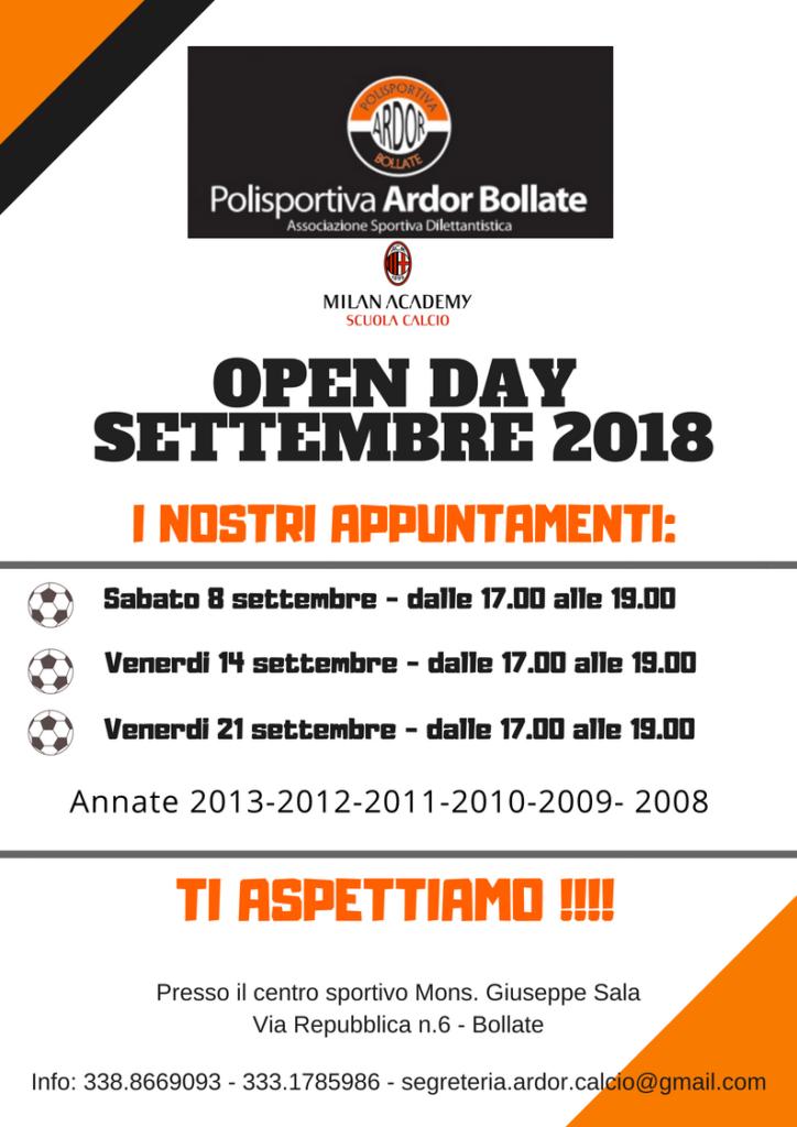 Open Day Ardor Bollate 2018